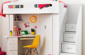 Space saving tip bunk beds with attached desks a restless shopper - Beds with desks attached ...